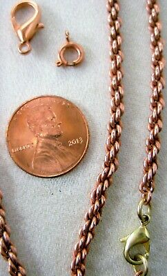 Very RaRe SOLID COPPER Twisted Rope Style Chain Necklace ALL SIZES Miss-art LAST
