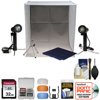 Xit Portable Light Box Photo Studio w/ 2 Backgrounds 2 Lights Tripod & Case Kit