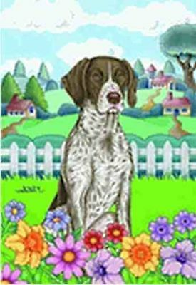 NICE! GERMAN SHORTHAIR POINTER Spring Colors Garden Flag