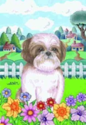 NICE! SHIH TZU BROWN/WHITE Spring Colors Garden Flag