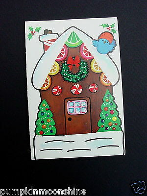 #D975- Vintage Paper Doll Cut Out Xmas Greeting Card Candy Gingerbread House