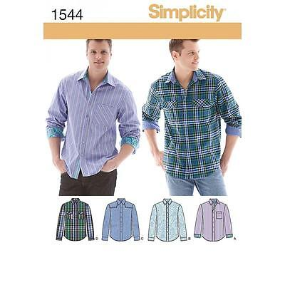Simplicity Sewing Pattern Men's Shirt Fabric Variations Size 34 - 52 Inch 1544 A