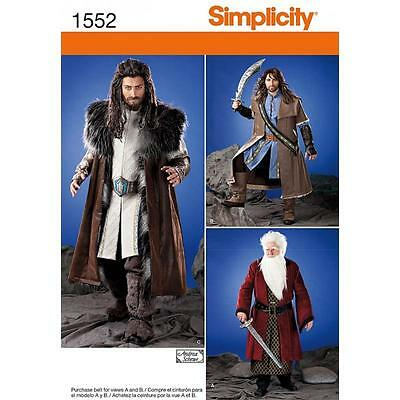 SIMPLICITY SEWING PATTERN Men's Medieval Tunic Cloak & Accessories XS - XL 1552