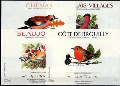 4 French Wine Labels With Birds - Postage Free - Beaujolais Chenas Brouilly