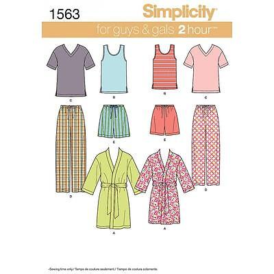 Simplicity Sewing Pattern Misses' Men's Teens' Sleepwear Xs - Xl 1563