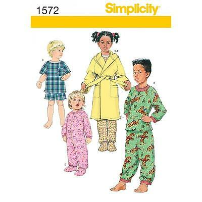 Simplicity Sewing Pattern Toddlers' & Child's Sleepwear & Robe ½ - 2 1572