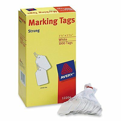 Avery White Marking Tags Strung, 1.75 x 1.093-Inches, Pack of 1000 (12204), New