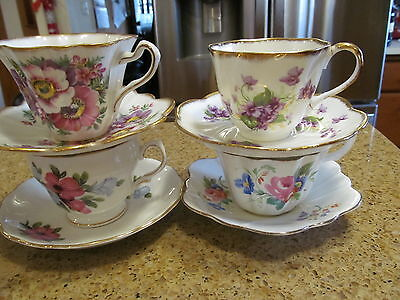 Lot of 4 Vintage Teacups and Saucers
