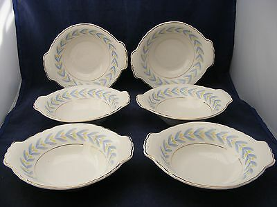 6 W S George Radisson China Lugged Soup Cereal Bowls Yellow Tulips Blue Leaves