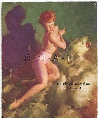 40s-50s Pin Up- Semi Nude Mutoscope Type- Gil Elvgren- He Almost Scared Me- Bear