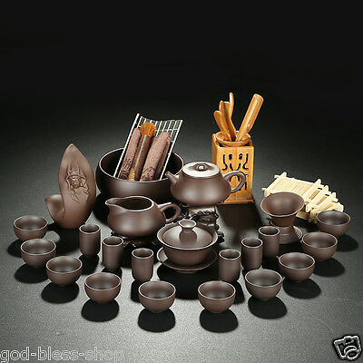 36pcs real zisha tea set original yixing stoneware teaset kung fu tea of pot cup
