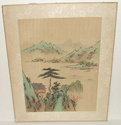 Old Japanese Landscape Temple Watercolor On Silk Signed Painting