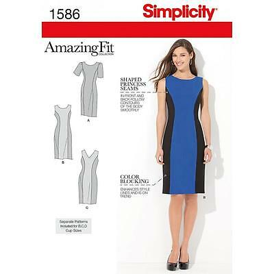 Simplicity Sewing Pattern Misses' / Women's Dress Amazing Fit Size 10 - 28W 1586