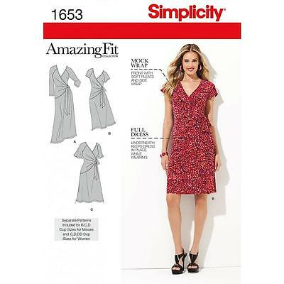 Simplicity Sewing Pattern Misses' / Women's Amazing Fit Dress Size 10 - 28W 1653