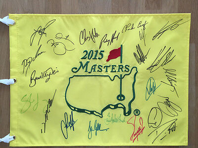 2015 Multi Signed Augusta Masters Golf Flag Autograph AFTAL COA Rose WILLETT