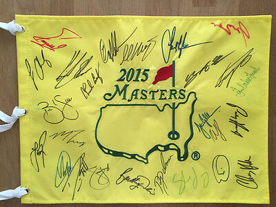 2015 Multi Signed Augusta Masters Golf Flag Autograph AFTAL COA Willett Stadler
