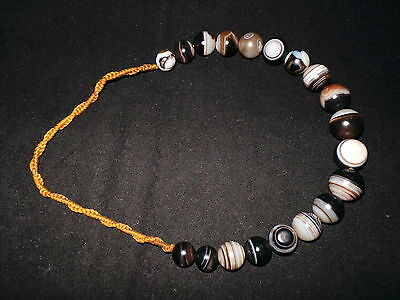 Old Afghanistan Ethnic Round Shaped Bended Agate Bead Necklace IX 阿富汗纏絲玛瑙圆珠子