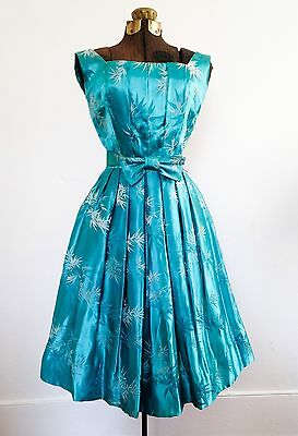 1950s 50s Alfred Shaheen Satin Brocade Bamboo Leaf Print Party Dress Jewel Tone
