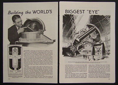 1936 Palomar Telescope Observatory original vintage Construction pictorial
