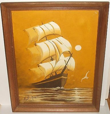 Al Baker Sailing Ship Original Oil On Canvas Seascape Painting
