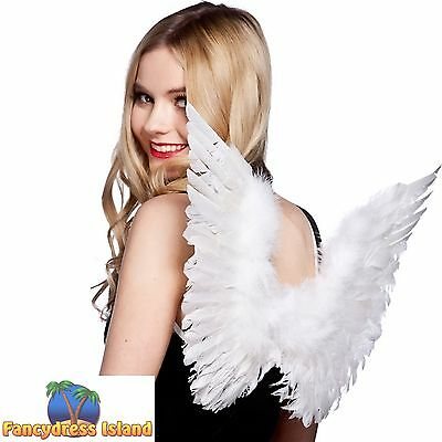 WHITE SMALL FEATHER ANGEL WINGS XMAS One Size FAST POST Womens Fancy Dress