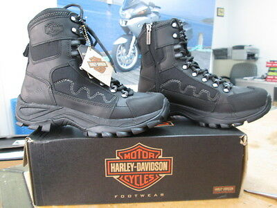 NEW Harley Davidson Mens Leather Boots Shoes Medium Black Roland
