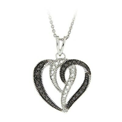 925 Sterling Silver Black or Blue & White Diamond Accents Heart Pendant