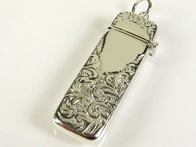 Floral Repousse Design Signet Needle Case Toothpick Holder Pendant 925 Sterling