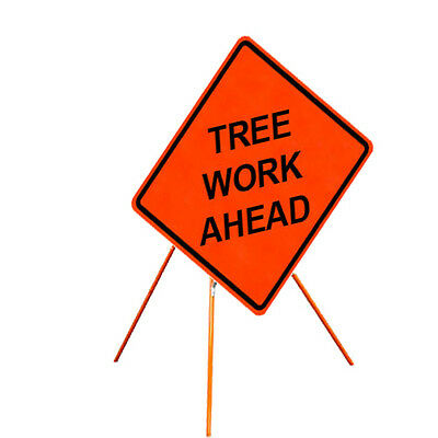 "ORANGE TRIPOD WITH SIGN, FITS 36"" & 48"" SIGN, Tree Work Ahead"
