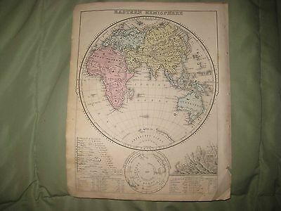 Antique 1873 Eastern Hemisphere World Handcolored Map Australia Asia Africa Fine