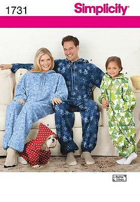 Simplicity Sewing Pattern Child's Adults Fleece Onesies Jumpsuit Dog Coat 1731