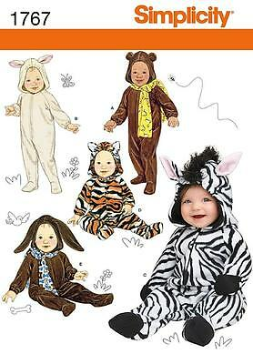 SIMPLICITY SEWING PATTERN BABIES COSTUMES lamb zebra cat Bear dog bear XS-L 1767