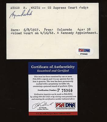 Byron White Signed Index Card  PSA/DNA