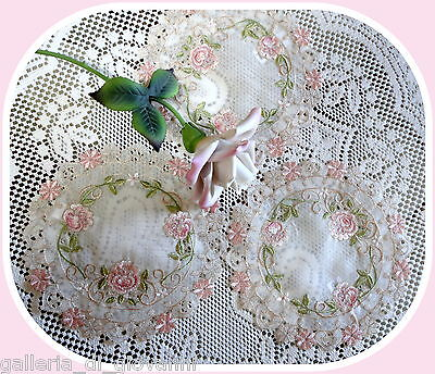 "PINK PRINCESS  ~ Set of 3~  7""  Lace Dolies Doily"