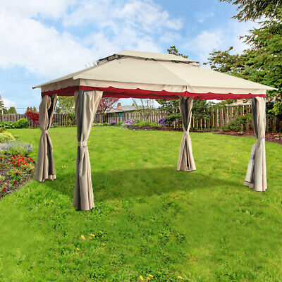 3x4M Deluxe Metal Pavilion Gazebo Awning Canopy Sun Shade Screen Shelter Marquee