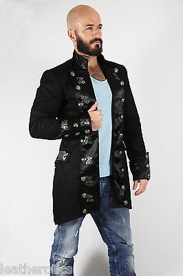 Black Cotton Mens Gothic Steampunk Outfit Vintage Dress Coat Pirate Top Spfl
