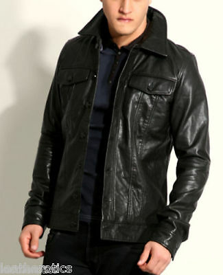 New Mens Slim Line Tight Fit Leather Jacket Gents Top