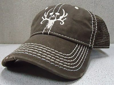 Men's Brown Mesh Bone Collector Logo Hat Velcro Adjustable One Size Fits ALL