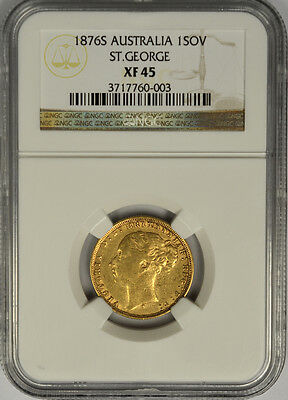 1876S Australia Gold Sovereign, NGC XF 45. Queen Victoria, Young Head. Sydney