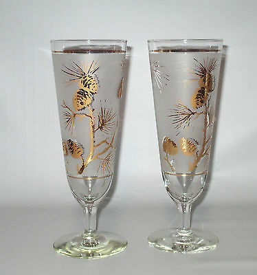 Dominion / Libbey 2 Gold Pine Cone Pilsner Beer Glasses 1950s Mid Century Mod