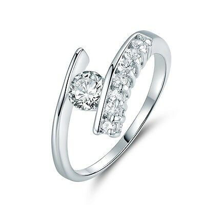 18k white gold filled Simulated Diamond with accent fashion women's ring Sz5-Sz9