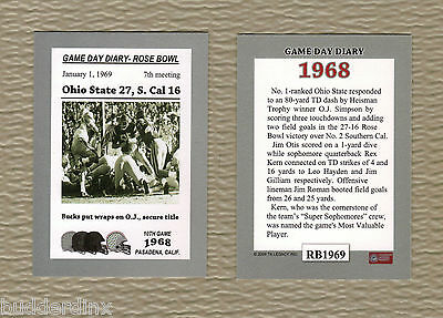OHIO STATE BUCKEYES 1968 NATIONAL CHAMPIONS FOOTBALL COLLECTOR CARD * INSERT