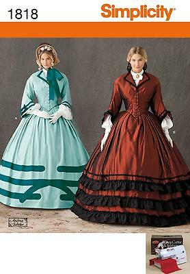 SIMPLICITY SEWING PATTERN Misses' Civil War costume SIZE 8 - 24 1818