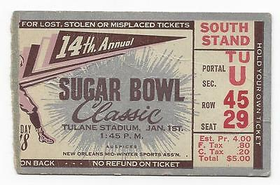 1948 Sugar Bowl Football Ticket Alabama Crimson Tide Texas Longhorns Bobby Layne