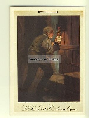 ad2657a  -  Cognac Salnier & Old Man on Stairs  -  modern poster advert postcard