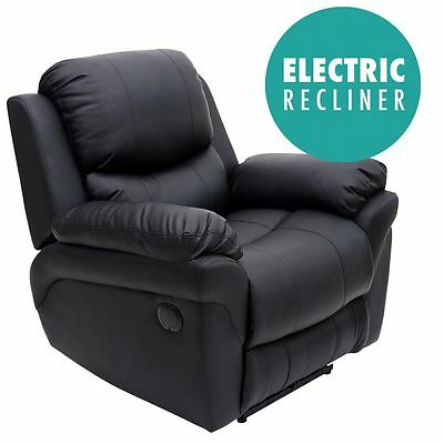 Madison Electric Black Real Leather Auto Recliner Armchair Sofa Lounge Chair