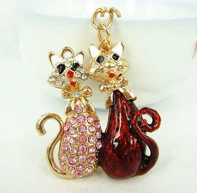 Lover Cat Butterfly Charm Pendent Chain Rhinestone Crystal Purse Bag Key Ring Gi