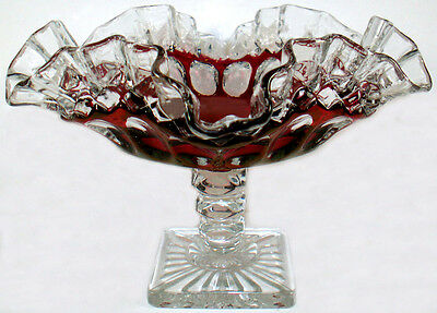 """Westmoreland Glass Clear Crystal w/ Ruby Stain Waterford Pattern 8.25""""d Compote"""
