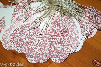 LOT 100 OVAL PINK DAMASK Print 1 X 1 5/8  Merchandise Price Tags STRUNG