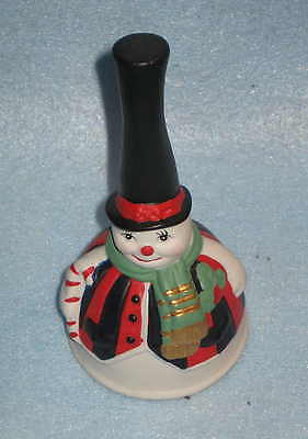 Porcelain  Snowman Christmas Bell 6 inches